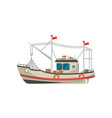 small fishing trawler side view icon vector image vector image