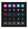 social media icon set on black background vector image