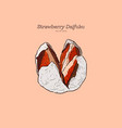 strawberry daifuku hand draw sketch vector image