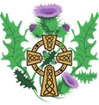 stylized Celtic cross framed thistle flowers vector image vector image