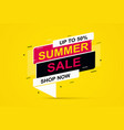 summer sale banner on yellow background vector image vector image