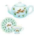 tea party set - teapot tea cup and plate vector image