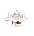 travel taj mahal india sketching drawing vector image