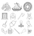 vikings and attributes outline icons in set vector image vector image