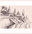 village road small old houses sketch wallpaper vector image