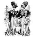 vintage engraving two ladies vector image