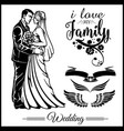 wedding couple silhouette groom and bride vector image