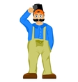welder with mustache and bulging eyes vector image