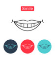 white teeth smile icon vector image vector image