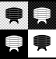 wooden barrel on rack icon isolated on black vector image