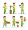 female florist cartoon set woman gardening vector image