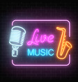 neon signboard of nightclub with live music vector image