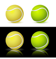 of the four tennis balls on white and black backgr vector image