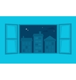 Room window wide open to a city view vector image