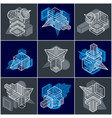 abstract 3d simple geometric shapes set vector image vector image