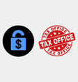 bank lock icon and grunge tax office seal vector image vector image