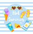 banner template with colorful beach elements vector image