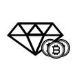 bitcoins and diamond black and white vector image