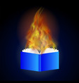 Burning blue paper book with fire flame