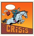 Businessman on a horse jumping barrier crisis vector image