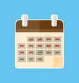 calendar in flat style on a blue background vector image