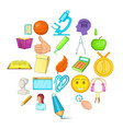 campus icons set cartoon style vector image vector image