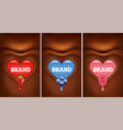 chocolate heart with strawberry blueberry vector image