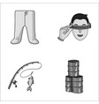 clothing fishing and other monochrome icon in vector image vector image