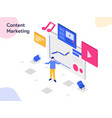 content marketing isometric modern flat design vector image vector image