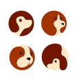 dog pet circle logo icon design set vector image