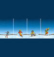 four scenes with people skiing and snowboarding vector image