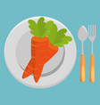fresh carrot and cutlery vegetables menu vector image
