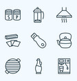 gastronomy icons line style set with bbq teapot vector image