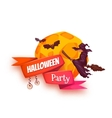 Halloween party banner with witch and moon vector image vector image