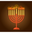 Hanukkah menorah greeting on brown background vector image