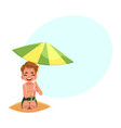 happy little boy hiding from sun under big beach vector image vector image