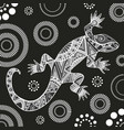 lizard with abstract patterns in black white gray vector image
