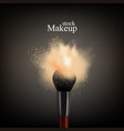 makeup brush powder background vector image vector image
