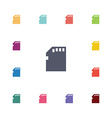 memory card flat icons set vector image