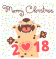 merry christmas 2018 card with dog funny puppy vector image vector image