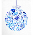 Merry Christmas hand drawn bauble vector image