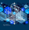 modern abstract cubic lattice lines blue black vector image vector image