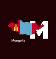 mongolia initial letter country with map and flag vector image