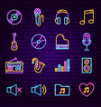 music neon icons vector image vector image