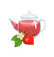 natural herbal tea in a glass transparent teapot vector image vector image