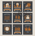 postage stamps on theme brewery and beer vector image