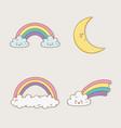 rainbow and moon kawaii characters vector image vector image