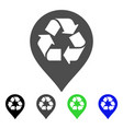 recycle map marker flat icon vector image vector image