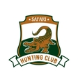 Safari hunting club badge with alligator croc vector image vector image