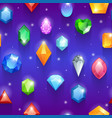 seamless colorful gemstones pattern diamonds vector image vector image